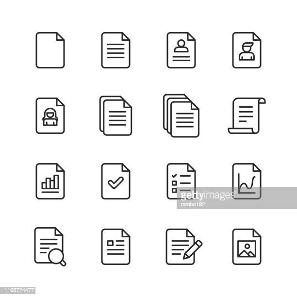 document line icons. editable stroke. pixel perfect. for mobile and web. contains such icons as document, file, communication, resume, file search. - paperwork stock illustrations