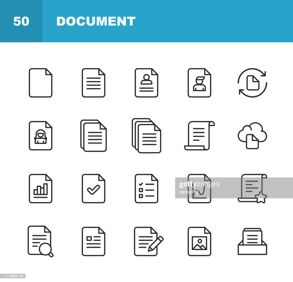 Document Line Icons. Editable Stroke. Pixel Perfect. For Mobile and Web. Contains such icons as Document, File, Communication, Resume, File Search. : stock illustration