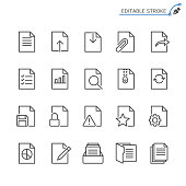 Document line icons. Editable stroke. Pixel perfect.