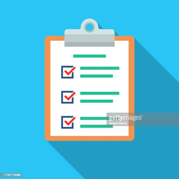 document list with check marks and clipboard - vector - clipboard stock illustrations