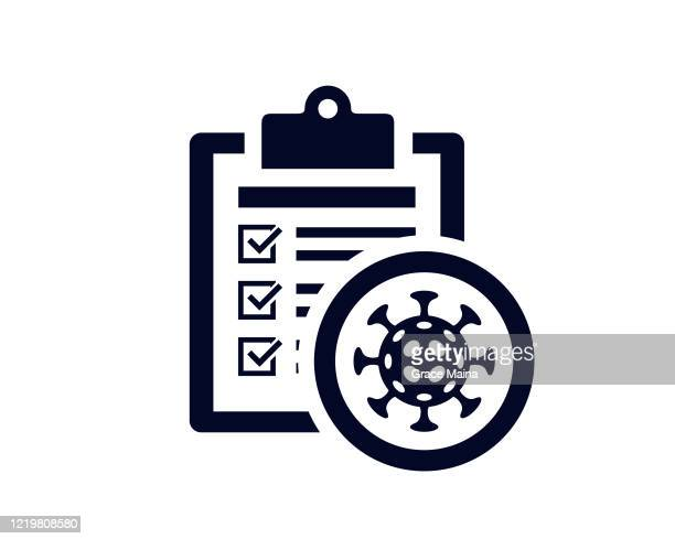document list with tick check marks on clipboard with a virus organism - vector - checklist stock illustrations