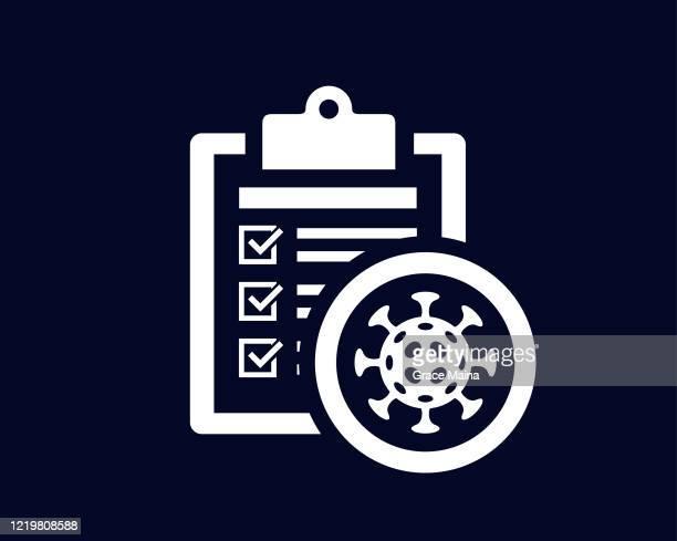 ウイルス生物とクリップボードにチェックマークを付けたドキュメントリスト - ベクター - アンケート点のイラスト素材/クリップアート素材/マンガ素材/アイコン素材