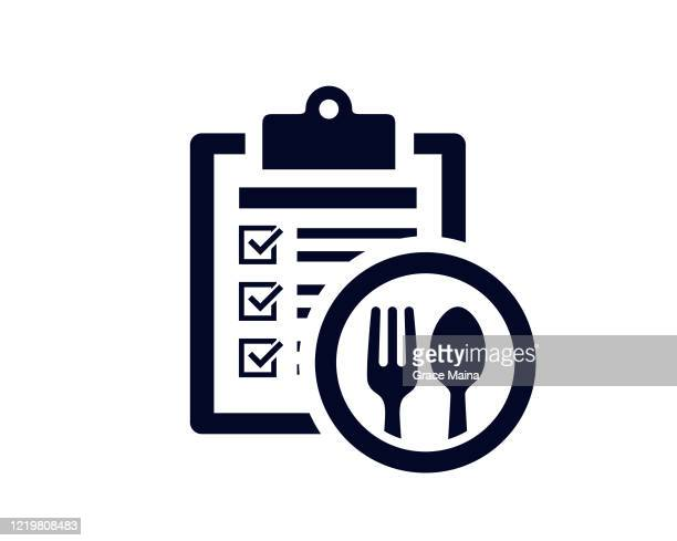 document list with tick check marks on clipboard with fork and tablespoon utensils - vector - meal stock illustrations