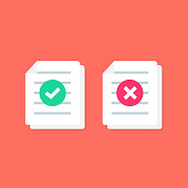 Document or Paper icon with Check mark. cross signs. Symbols YES and NO. Reject file. Accept document.