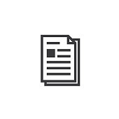 Document paper outline icon. isolated note paper icon in thin line style for graphic and web design. Simple flat symbol Pixel Perfect vector Illustration.