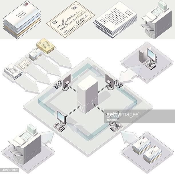 stockillustraties, clipart, cartoons en iconen met document processing - vpn