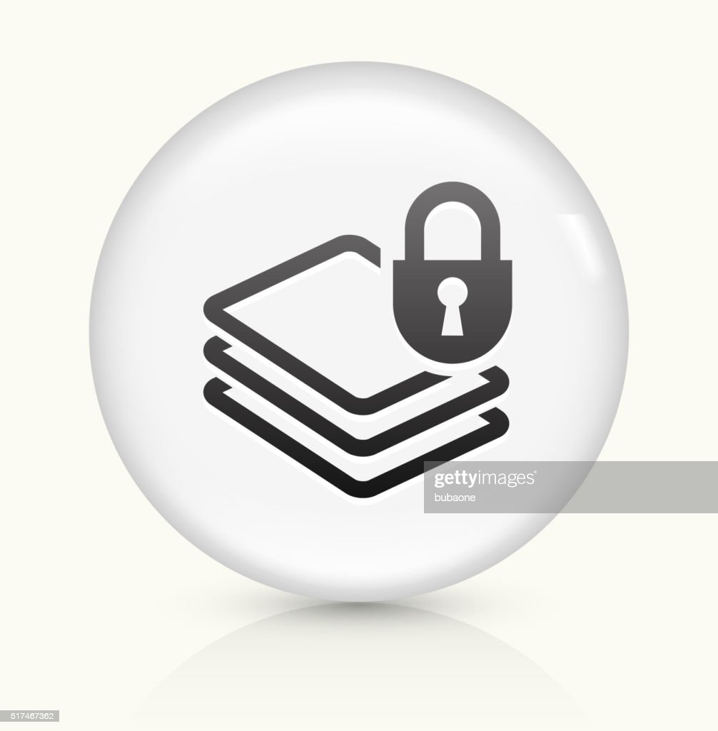 Document Protection icon on white round vector button