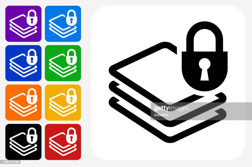 Dokument-Schutz-Symbol-Square Buttonset : Stock-Illustration
