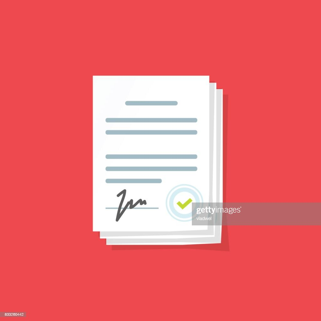 Document Sign Vector Illustration Flat Cartoon Paper Documents Pile