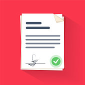 Document sign vector illustration, flat cartoon paper documents pile with signature and text
