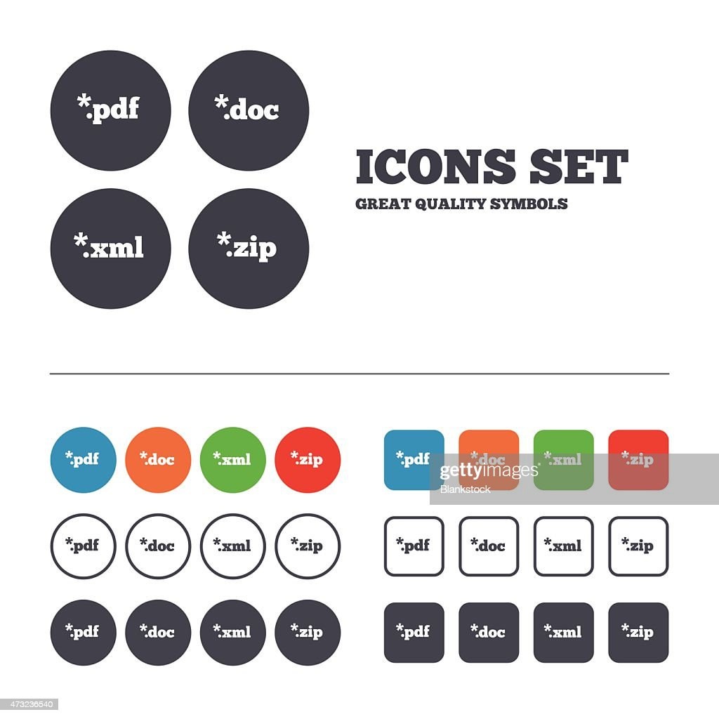 Document signs. File extensions symbols