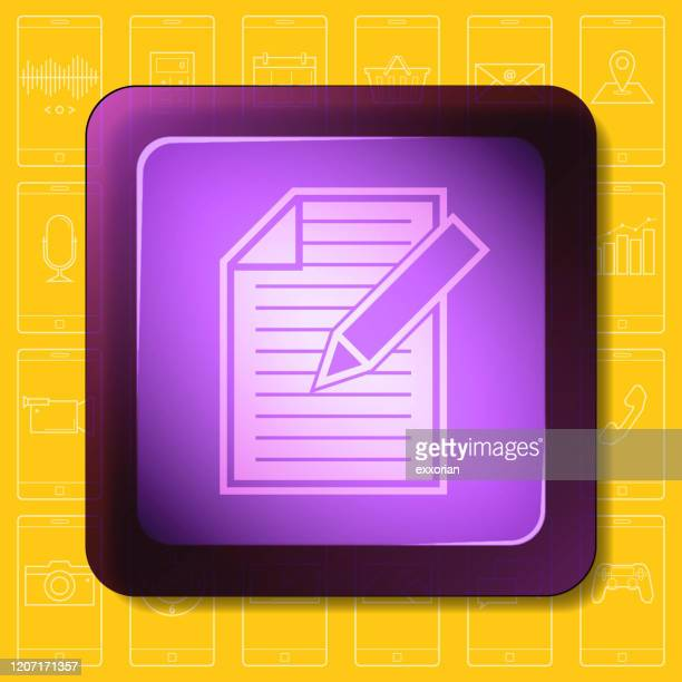 document smartphone app icon - exercise book stock illustrations