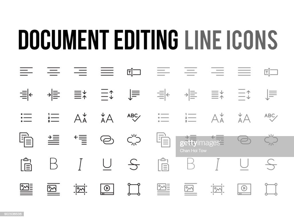 Document text editing vector line icon for app, mobile website