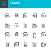 Document - thin line vector icon set. Pixel perfect. Editable stroke. The set contains icons: Document, Clipboard, Resume, File, Archive, File Search.