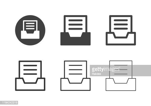 document tray icons - multi series - outbox filing tray stock illustrations