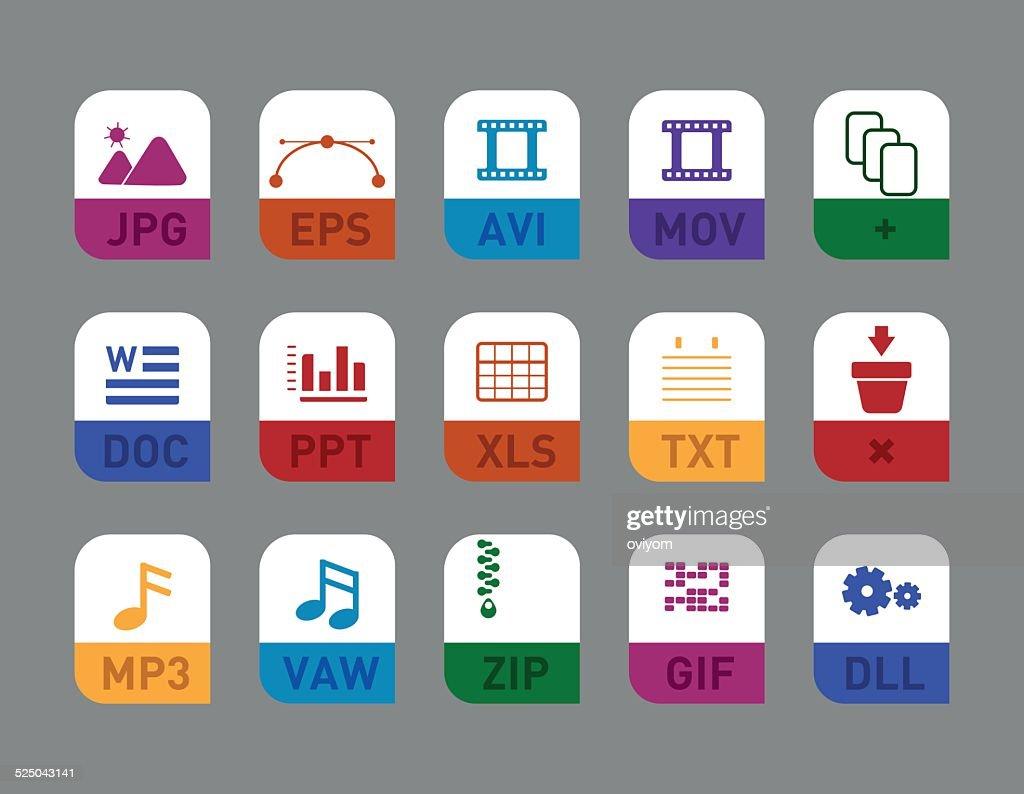 document types flat icon set