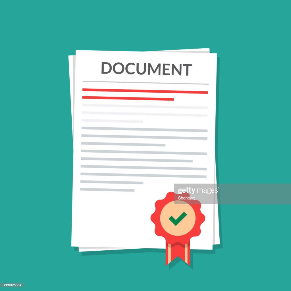 Document with a seal. Natorially Certified Power of Attorney. Isolated image in a flat style.