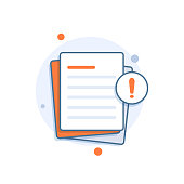 Document with alert or error notification bubble