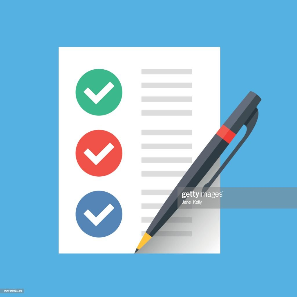 Document with checkmarks and pen. Checklist, survey, completed tasks, to-do list concepts. Modern flat design vector icon