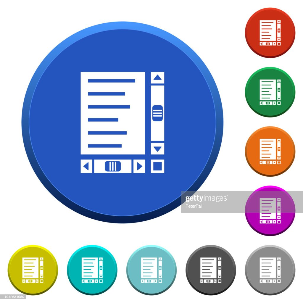 Document with content and scroll bars beveled buttons