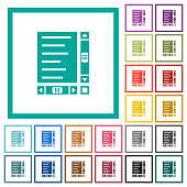 Document with content and scroll bars flat color icons with quadrant frames