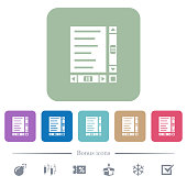 Document with content and scroll bars flat icons on color rounded square backgrounds