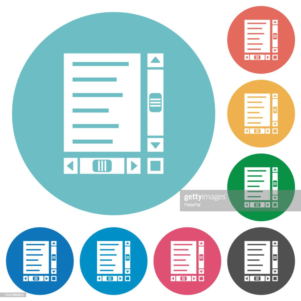 Document with content and scroll bars flat round icons