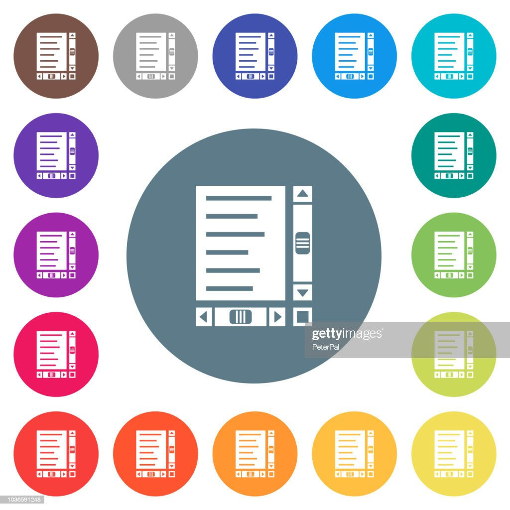Document with content and scroll bars flat white icons on round color backgrounds