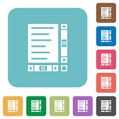 Document with content and scroll bars rounded square flat icons
