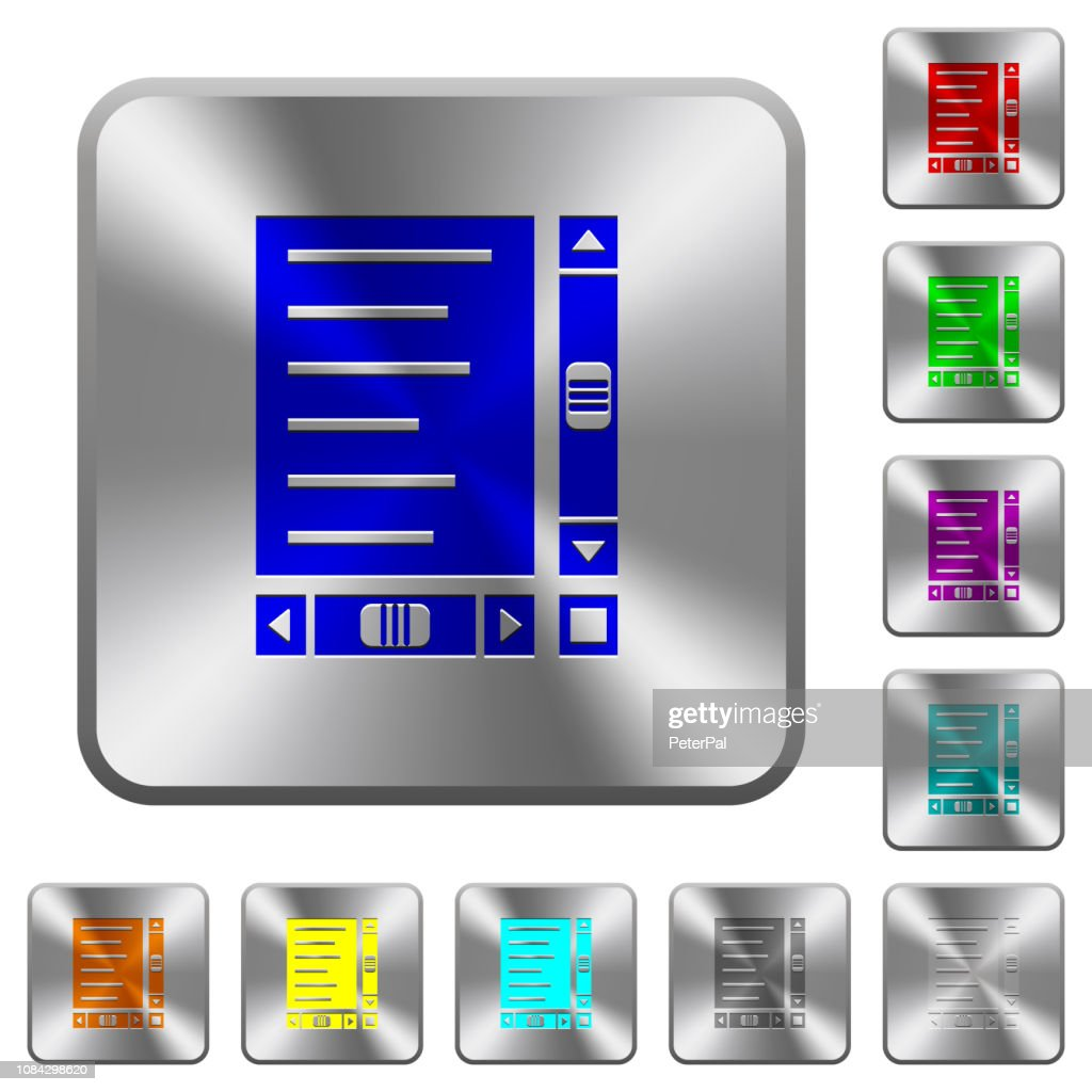 Document with content and scroll bars rounded square steel buttons