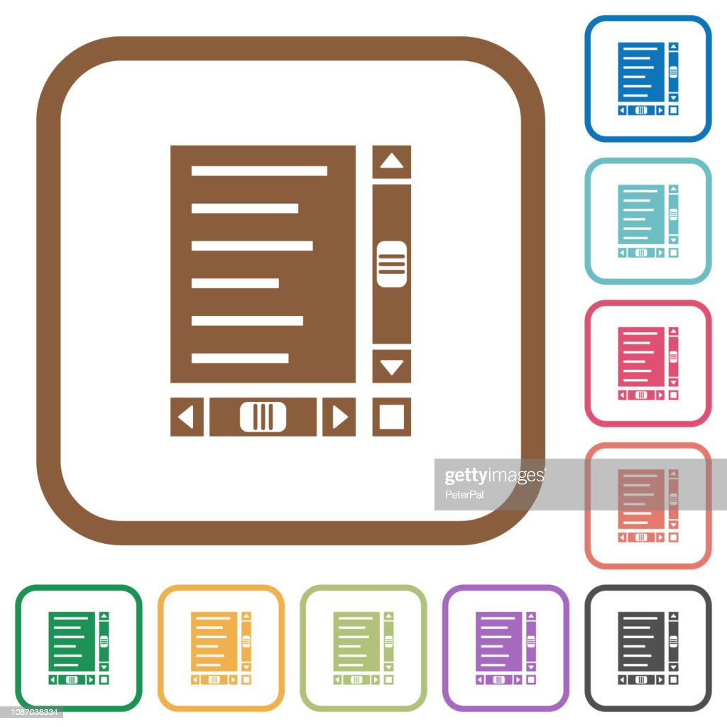 Document with content and scroll bars simple icons