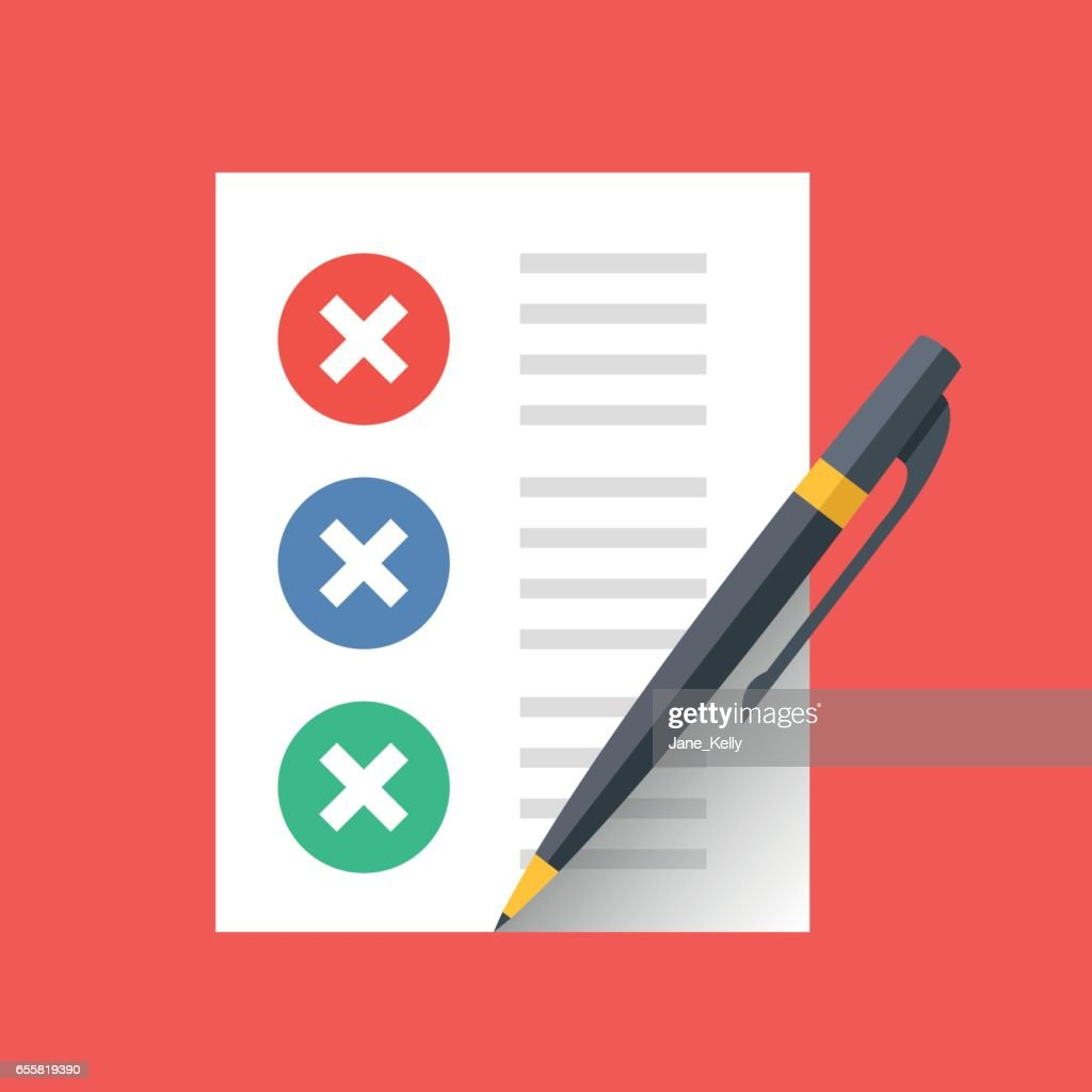 Document with crosses check marks and pen. Unfinished tasks, quiz, test, survey, to-do list concepts. Modern flat design vector icon