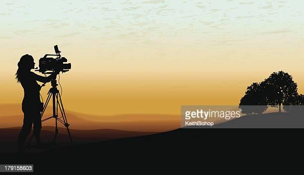 documentary - film crew, cameraman background - film crew stock illustrations