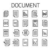 Documentl related vector icon set.