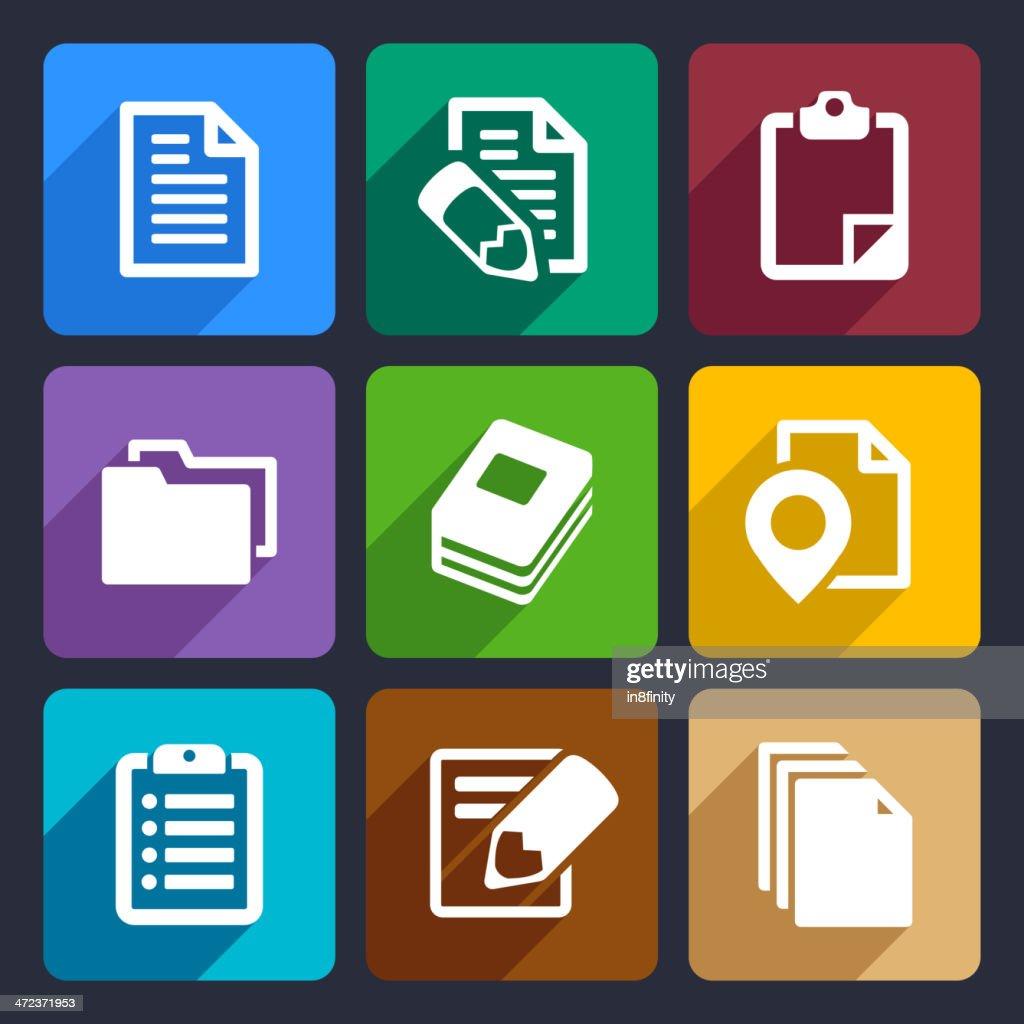 Documents and folders flat icons set 19