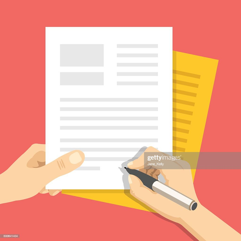Documents and hand with pen signs documents. Treaty signing concept