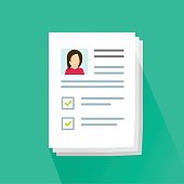Documents and personal data vector illustration, flat cartoon paper document pile or stack with user profile data and photo, concept of interview job, qualification test evaluation, cv