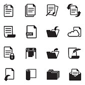 Documents Icons. Black Flat Design. Vector Illustration.