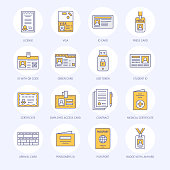 Documents, identity vector flat line icons. ID cards, passport, press access student pass, visa, migration certificate, token, legal contract illustration. Notarial office signs
