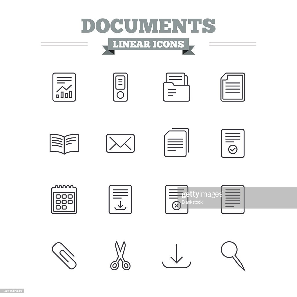 Documents linear icons set. Thin outline signs. Vector