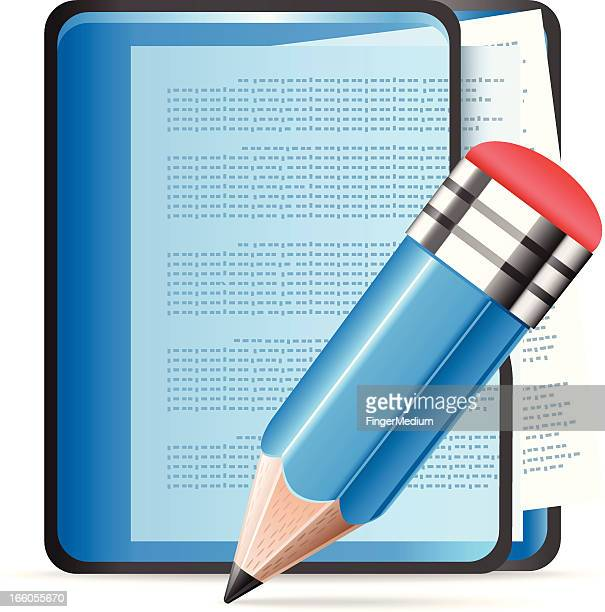 documents with pencil - video editing stock illustrations, clip art, cartoons, & icons