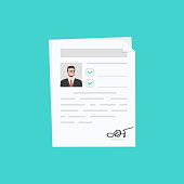 Documents with personal data, concept of interview job, qualification test evaluation, cv. Vector illustration.