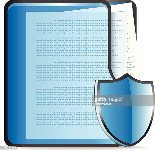 documents with shield - card file stock illustrations, clip art, cartoons, & icons