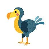 Dodo bird animal cartoon character vector illustration.