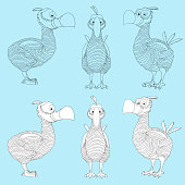 Dodo bird. Cartoon extinct species Dodo painted in black and white in three sides for games and coloring book.