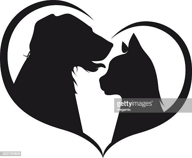illustrations, cliparts, dessins animés et icônes de chien et chat comme amis. - chat profil