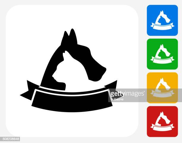 Dog and Cat Badge Icon Flat Graphic Design