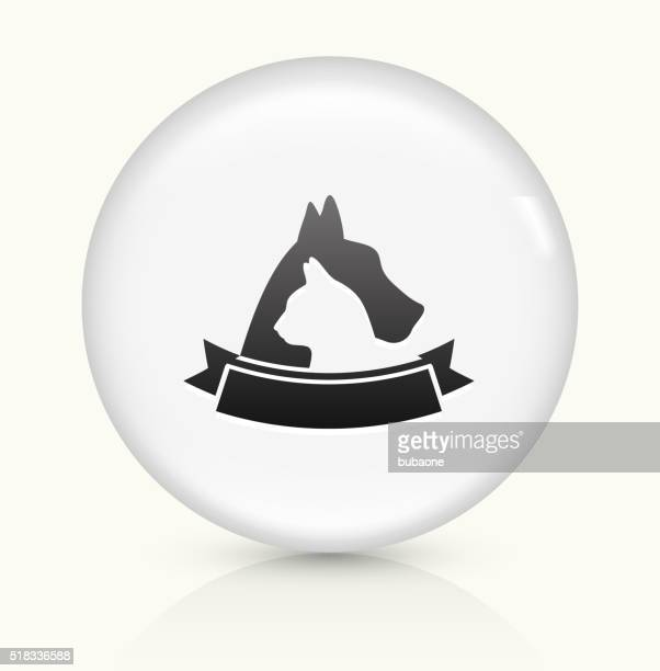 Dog and Cat Badge icon on white round vector button