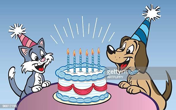 dog and cat birthday party - happy birthday cat stock illustrations