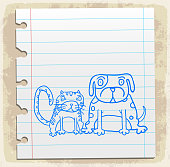 dog and cat cartoon illustration
